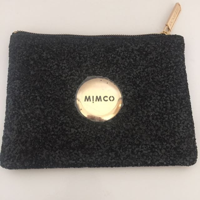 Mimco Large Sparkly Black Pouch