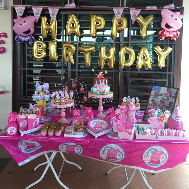 Peppa Pig Theme Party Set Babies Kids Toys Walkers On Carousell