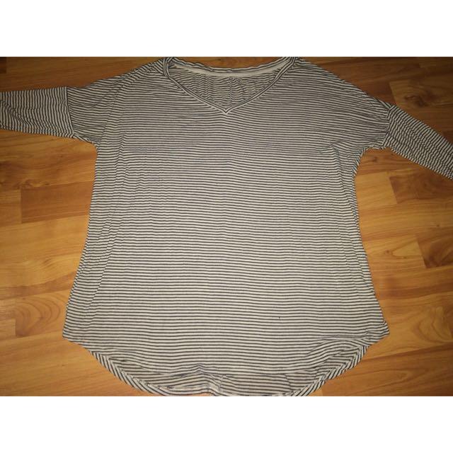 Striped Black And White Long Sleeve V-Neck Shirt
