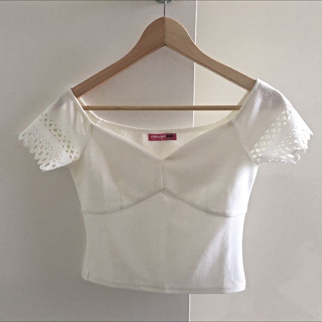 Valley Girl Semi Off Shoulder Crop Top
