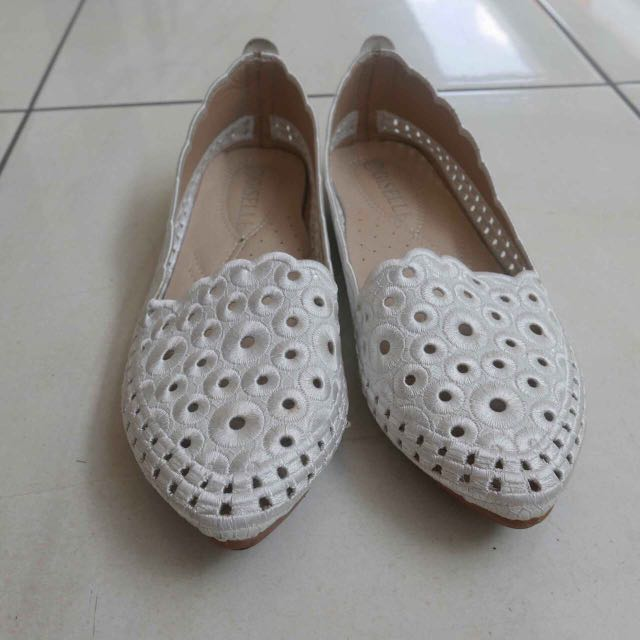 White Patterned Flat Shoes
