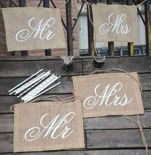 Mr & Mrs Burlap/Jute Chair Back Signs - Wedding