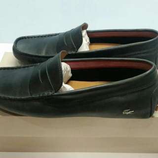 Lacoste Concours 16 Srm Mens Black Leather Loafers size 7 UK