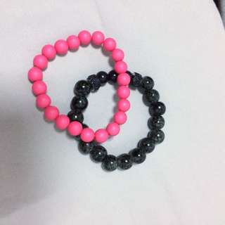 全新—復古串珠手環黑色粉紅色