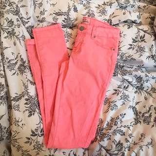 Aeropostale Neon Pink Skinny Pants