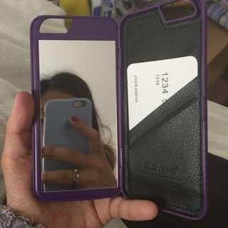 Iphone 6 case with mirror and card slots purple
