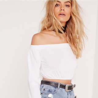 White Off-the-shoulder Crop Too