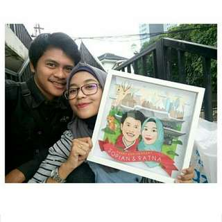 Digital Karikatur Pop-up With Frame