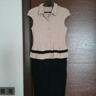 Doublewoot Peplum Dress In Beige And Black (SIZE M)