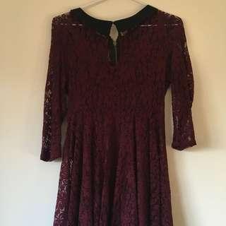 Bardot Black Collar Lace Burgundy Dress