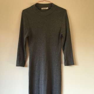 Grey High Neck Midi Knit Dress