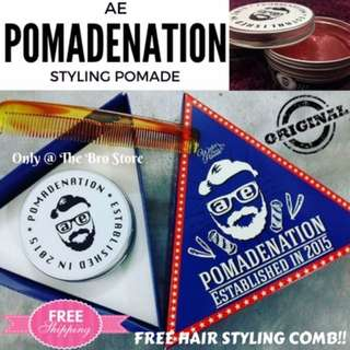 PROMO! Authentic AE POMADENATION Barber's Choice Water Based Pomade (FREE STYLING COMB!)