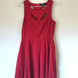 Red Skater Dress With Cut Out Detail
