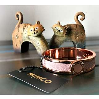 NEW WITH TAG MIMCO PINK/ ROSE GOLD NARROW HINGED LEATHER CUFF BANGLE/BRACELET