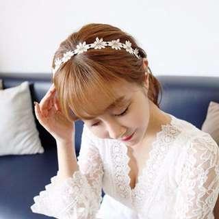 現貨 韓國夏季小雛菊 清新 森林系 花朵編織渡假 髮帶/髮箍 髮飾