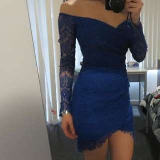 Off-shoulder Long sleeve Lace Dress (Blue)