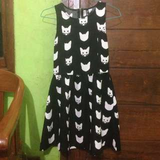 Mini Dress Black Cat Size XS