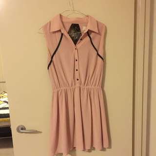 Dusty Pink Laced Back Collared Mini Dress