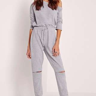 Off Shoulder Grey Jumpsuit