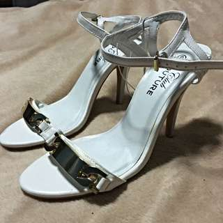 NEW PRICE!!! White Strappy Heel With Gold Buckle