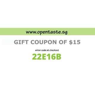 $15 Coupon Opentaste.sg Organic & non-organic fresh produce & delivery