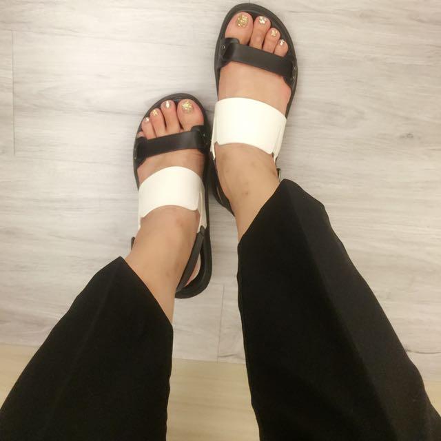 配色涼鞋36