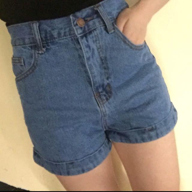 韓系高腰牛仔短褲