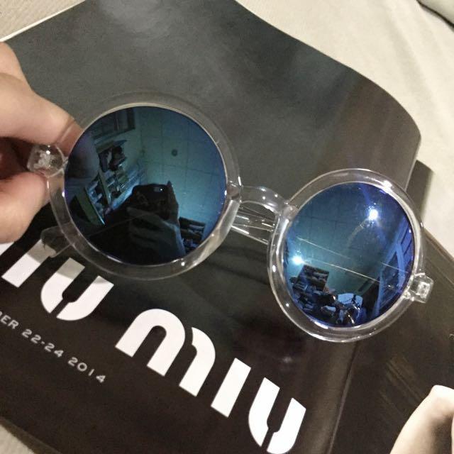 透明圓框水藍 反光 墨鏡 太陽眼鏡