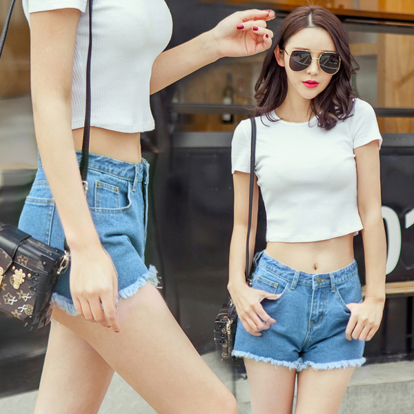高腰顯瘦學生韓版百搭闊腿熱褲(全新)-黑色淺藍