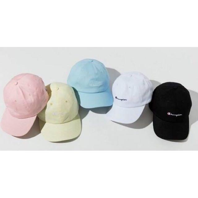 只賣正品有商店發票 日本連線 wego代購 x champion 老帽 馬卡龍色 淡藍 淡粉紅 鵝黃 薄荷綠 牛仔藍 黑色