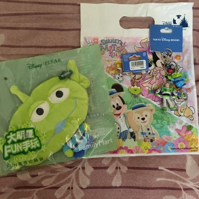 東京迪士尼購入 玩具總動員吊扣&全家三眼怪收納袋