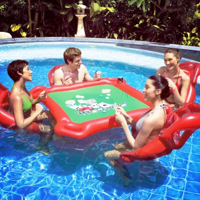 [現貨]水上麻將桌 造型充氣游泳圈 一組一桌子四椅子