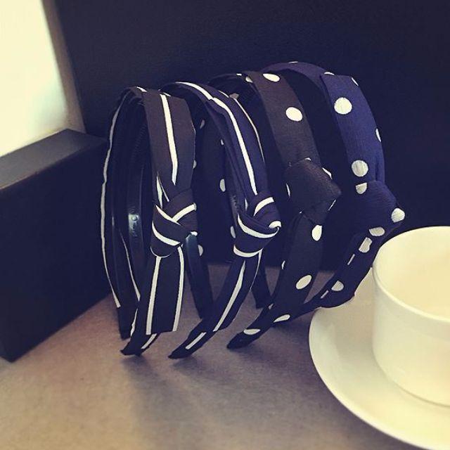 韓版甜美條紋 蝴蝶結玉水點點百搭防滑髮箍髮圈 頭飾