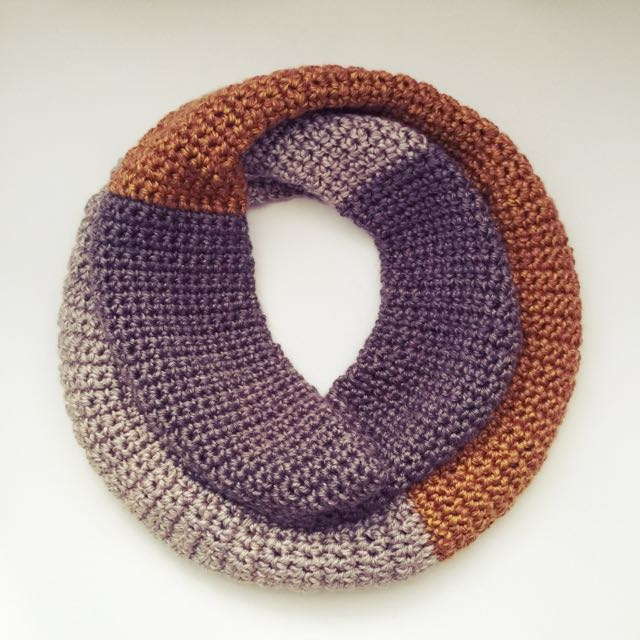 Anthropologie Inspired Colorblock Infinity Scarf - Tricolor