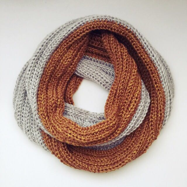 Anthropologie Inspired Infinity Scarf In Old Gold & Flint Smoke