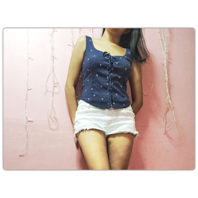 🔴Atmosphere Denim Floral Top
