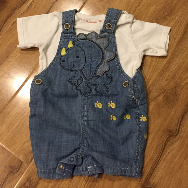Baby Boys Dinosaur Dungarees 6-9 Months