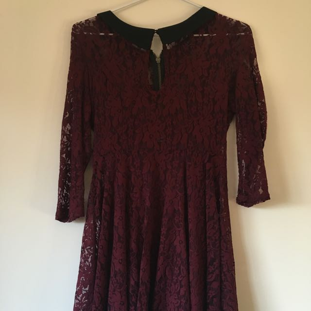 Bardot Black Collar Lace Burgundy Dress