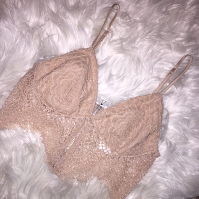 Bardot Lace Nude Bralette And Skirt