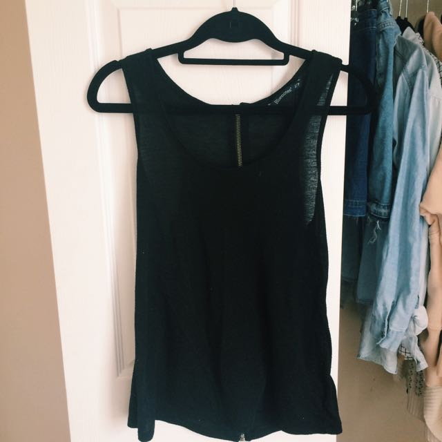Black Tank top with Zipper Down back