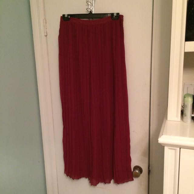 Burgundy Pleated Urban Outfitters Maxi Skirt