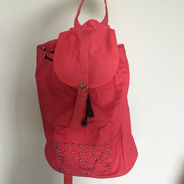 Coral Backpack With Stud Pocket