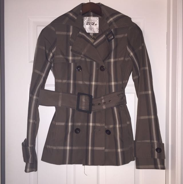 Costa Blanca Plaid Trench Coat
