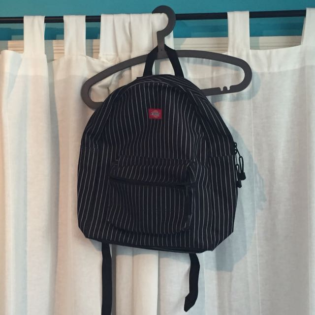 Dickies Black With White Pinstripes Backpack