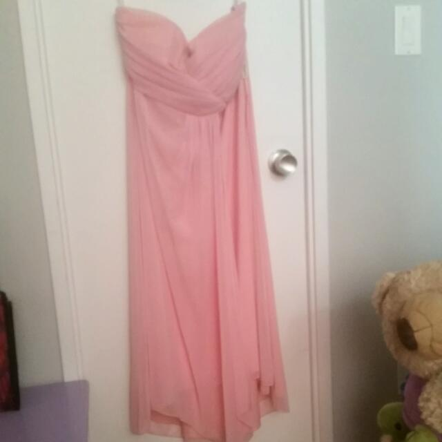 Flowy Strapless Pink Dress