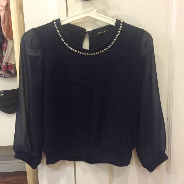 日貨Ingni 鏤空珍珠氣質針織上衣