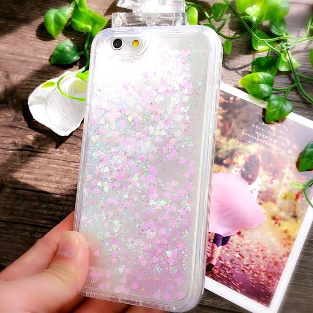 蘋果iphone6液體愛心閃粉流沙軟邊手機殼6plus手機套5SE