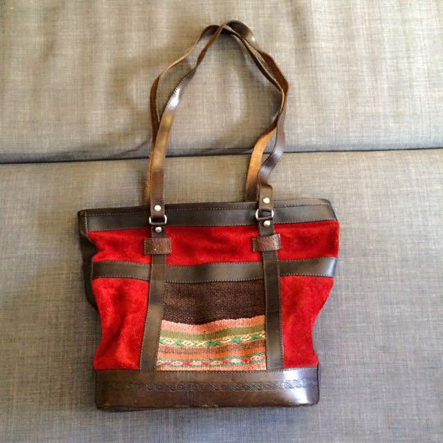 Leather And Suede Vintage Bag