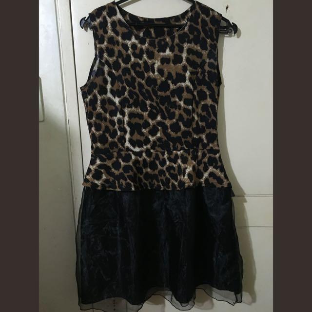 Leopard Chiffon Tutu Dress