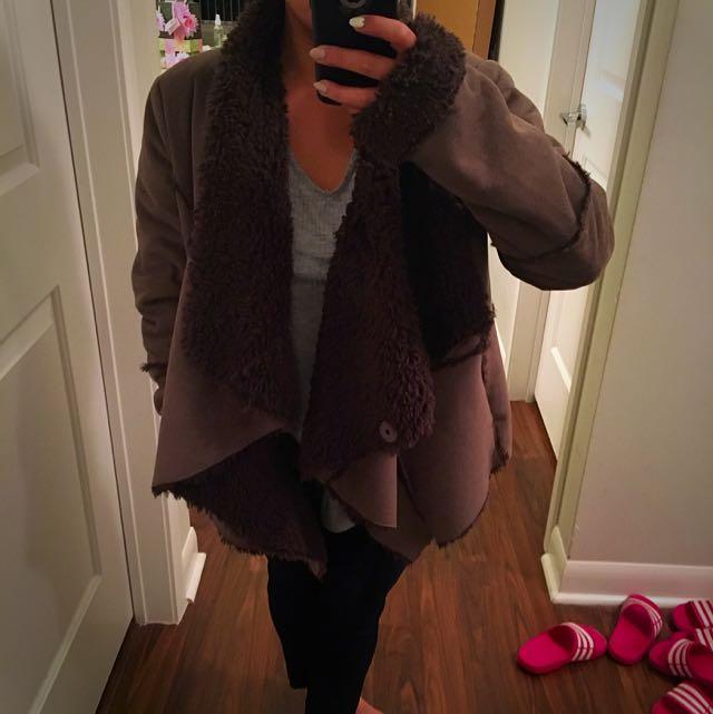 Medium Brown Wrap Jacket